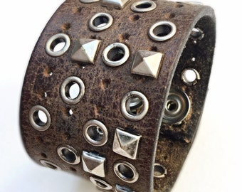 Wide Brown Distressed Leather Studded Cuff Bracelet