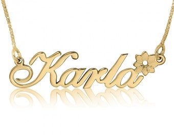 Customized Name Necklace a Necklace With Name on It Necklace That Says My Name Karla Name Necklaces Name Locket Designs in Gold Plated