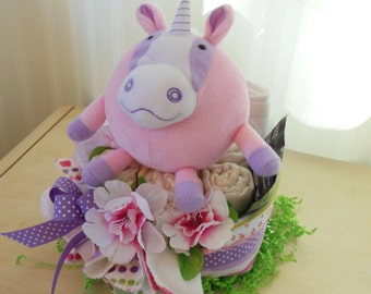 SALE Pink Unicorn Cloth Diaper Cake, Cloth Diapers