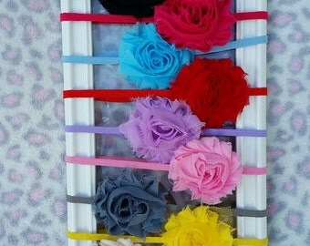 25% off 2 or more, Single Shabby Flower Headband - Shabby Chic, Baby Headband, Multi Colors, Shabby Chic Flower Headband, Skinny Elastic.