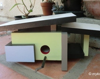 Atomic Age, Mid Century Modern, Modern Bird House, Midcentury Home, Birdhouse Gift,