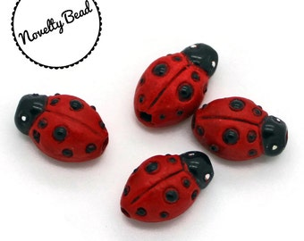 4 - Small - Red - Lady Bug Beads  - Novelty - Ceramic