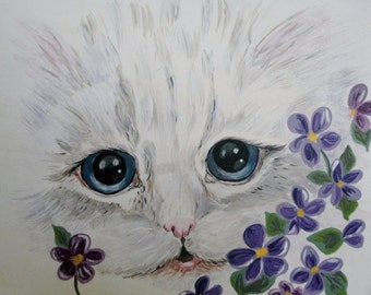 Kitten Painting, original fine art realism nature animal acrylic home decor decorative painting cat feline cottage chic victorian
