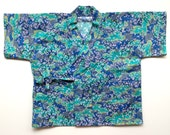 Japanese Baby Kimono (Jinbei) Blue Green Cherry Blossoms Printed Cotton - Small