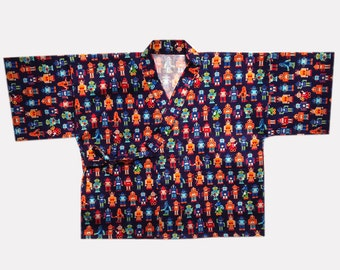 Japanese Baby Kimono (Jinbei) - Navy Robot Printed Cotton - Large