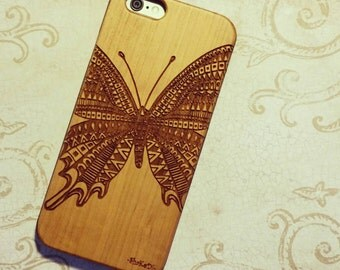 Laser Engraved Hand Drawn Tribal Aztec Butterfly Doodle Zentangle inspired Pattern on Wood phone Case iPhone 5/S, 6/S and 6 plus IP-036