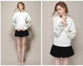 sweatshirts for women in white,applique flower at sleeve,embroidered,elegant,fashion,unique,handmade.--1186