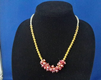 Yellow and Red Crystal Necklace