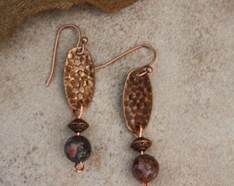 Jasper and antiqued copper dangle earrings