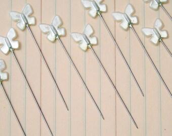 "Trinket Pins 30/Pkg-Butterflies - Pearl .5""X2.25"""