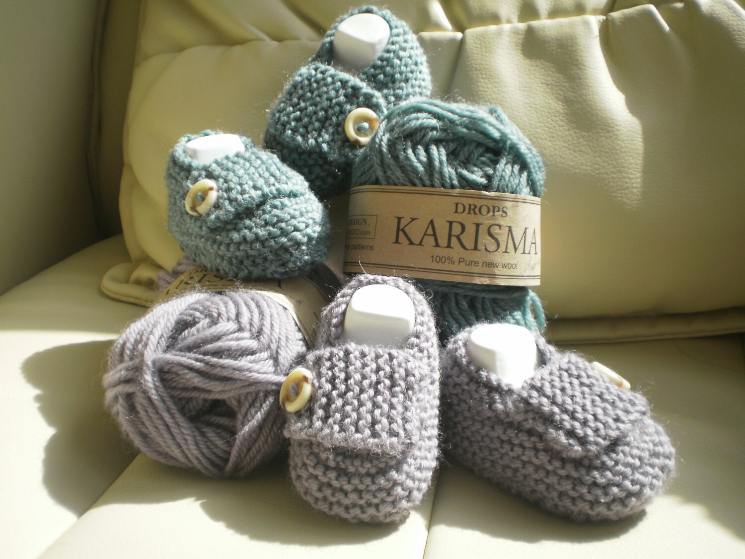 Pdf Knitting Pattern for baby booties shoes loafers reborn