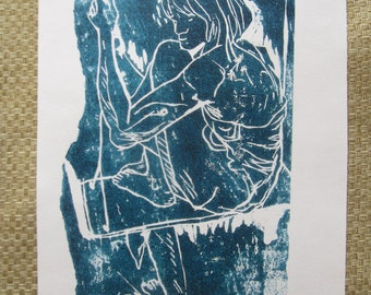 Mary on the swing, 6 x 12 inches, original wood block print by Brigitte