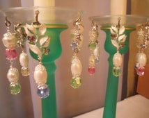 Rainbow Dreams, Upcycled Bobeches with Vintage Necklaces, Candle Wax Catchers