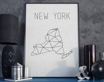 New York city print New York map New York art New York wall art USA art Map wall decor USA art Map decor Geometric art Scandinavian style