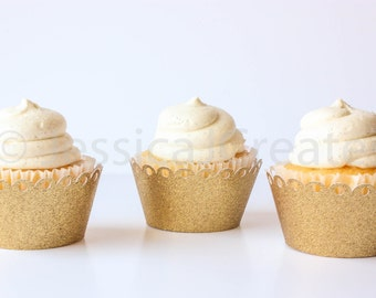 Cupcake Wrapper - Gold Cupcake Wrappers - Glitter Cupcake Wrappers  - Gold Glitter - Cupcakes - Cupcake Wrapper