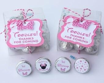 Minnie Mouse Party Favors -  Party Favor Kit - Minnie Mouse Favors - Label - Stickers - Personalized Party Favors
