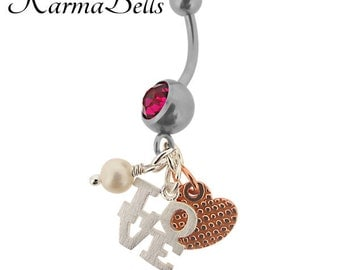 Sterling Silver Karmabell Belly Ring - Love You