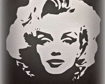 Marilyn Monroe Canvas Silhouette w/ qoute, Black and white Marilyn Monroe, Marilyn art, Marilyn wall hanging