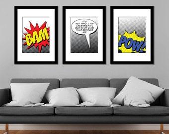 Comicbook Art Batman Quote BAM POW Set of 3