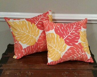Orange and Yellow Tropical Floral Print Pillow Cover Indoor / Outdoor (Choose Size)