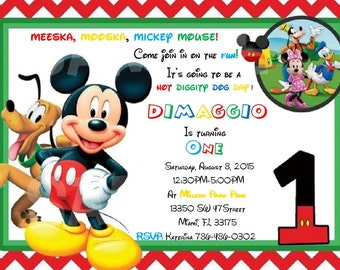 Mickey Mouse Clubhouse 1st Birthday Invitation