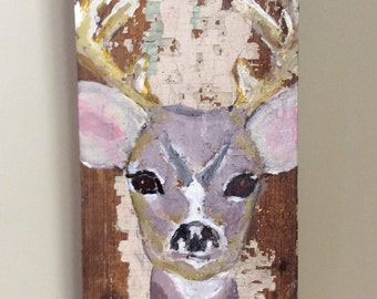 Original art, deer in acrylic on architectural salvage