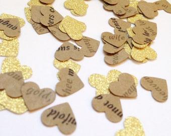 Gold rustic confetti . Love poem confetti . Wedding decor . heart confetti 200 Ct
