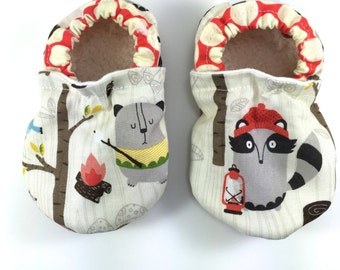 Camping baby shoes campy tula baby booties soft sole shoes toddler shoes tula accessories critters vegan baby shoes crib shoes girl boy