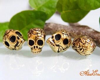 TierraCast Rose Skull Bead. 10pcs. 5715-GA