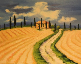 Memories of Tuscany, Italy - original contemporary oil painting //  Interior painting // oil painting