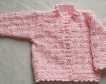 Baby girl cardigan, Hand knitted, Pink baby cardigan,Baby girls clothing, Pink baby clothes, Knitted baby clothes, Knitted cardigan,