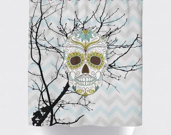 Skull shower curtain | Etsy