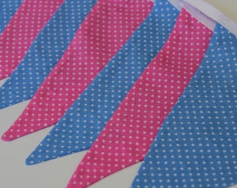 Fabric Bunting - Pink & Blue Baby Shower