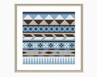 Cross Stitch Pattern, Modern Cross Stitch, AZTEC BLUE cross stitch pattern - Instant Download PDF