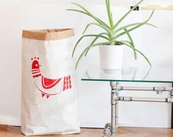 Folklore bird motif paperbag storage, Sac de rangement, handmade painted, Sac en papier, Paper bag, Papiertüte Aufbewahrung, cadeau, gift