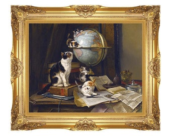 Cat Lover Gift Kittens Framed Canvas Art Print Painting Reproduction The Globetrotters Henriette Ronner Knip - Small to Large Sizes - M01869