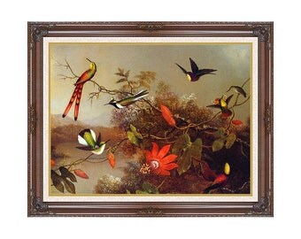 Tropical Landscape with Hummingbirds Martin Johnson Heade Framed Art Canvas Wall Artwork Print - Sizes Small to Large - M00701