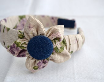 Headband covered with waxed linen and cloth jeans