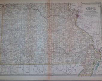 1903 SOUTH MISSOURI map, antique, original, colour, historical