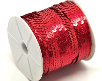 6mm sequin trim, Red sequin trim strand, 5yds