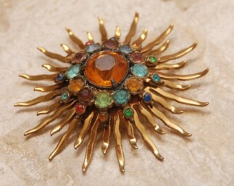 VINTAGE Gold Plated Sunburst Pin Brooch w/ Multi-Color Crystals