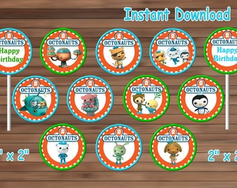OCTONAUTS cupcake toppers, OCTONAUTS Party favor, Instant Download, PDF