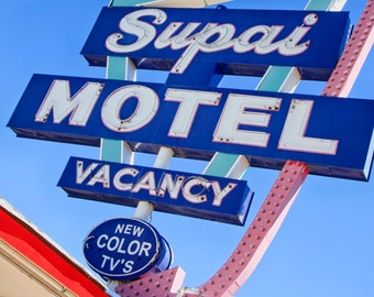 Retro Wall Art Vintage Wall Decor Supai Motel Sign Route 66 Decor Motel Sign Retro Home Decor Mid Century Modern Wall Decor Googie Wall Art