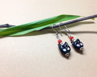 Cat Lovers Earrings in .925 Sterling Silver and Lampwork Beads