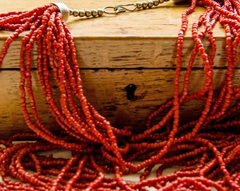 Natural Undyed Mediterranean Multi-Strand Beaded Coral Necklace