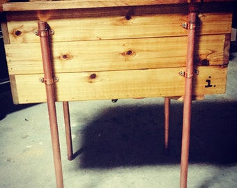"24""x12""x22"" Wood planter w/ Copper Legs"