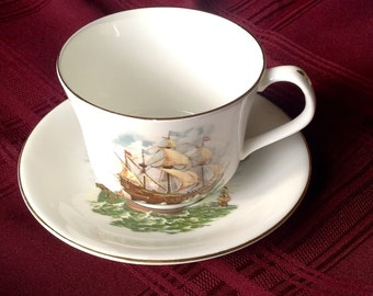 Vintage Large Staffordshire Bone China Cup and Saucer/Sailing Ship Design/ Elizabethan/Made in England/Hand Decorated