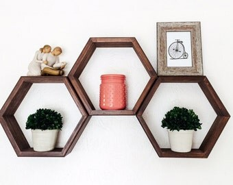 Set of 3 Hexagon Shelves, Honeycomb Shelves, Geometric Shelf, Choice of Stains (Dark Walnut shown), Nursery Decor, Gift for Her, Home Decor