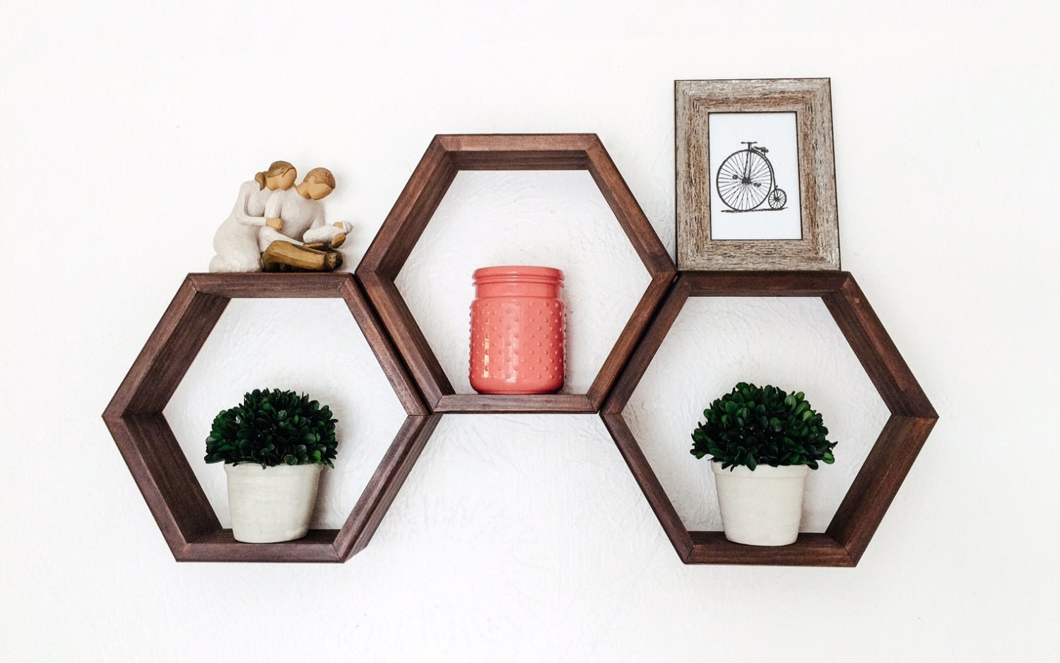 Honeycomb Shelves Geometric Shelf Set Of 3 Choice Of Stains