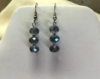 Midnight Blue Crystal Beaded Pierced Earrings